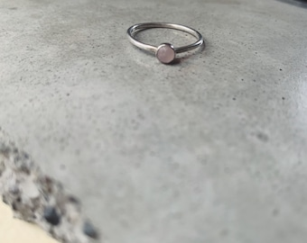 Rose quartz cabochon stacking ring - dainty - millenial pink - everyday jewelry - spring trends - gifts for bff - girlfriend