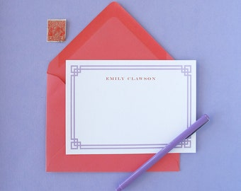 Fretwork Border Personalized Stationery - set of 15