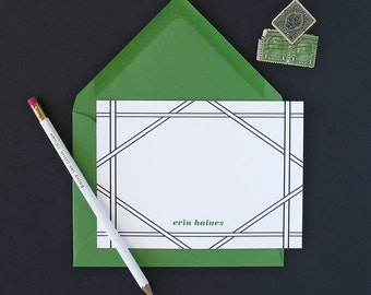 Cane Border Personalized Stationery - set of 15