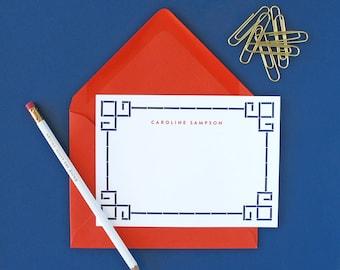Bamboo Border Personalized Stationery - set of 15