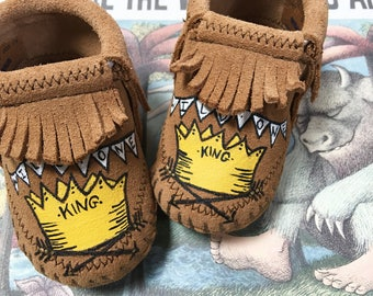 Custom Where the Wild Things Are Baby Booties Moccasins Wild One King Max c2146fc0d