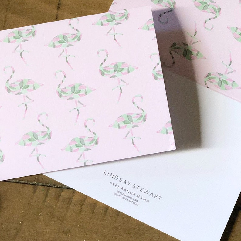 Flamingos Palm Leaves Card pack of 5 4x5.5 Free Range Mama image 0