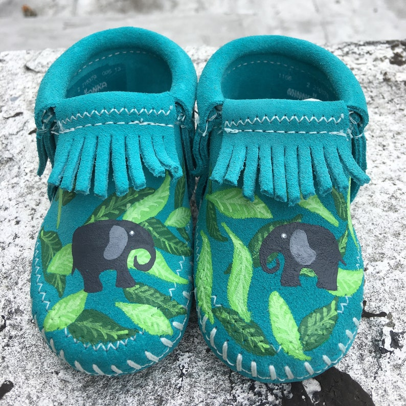 Custom Palm Leaves and Elephant Turquoise Baby Booties image 0