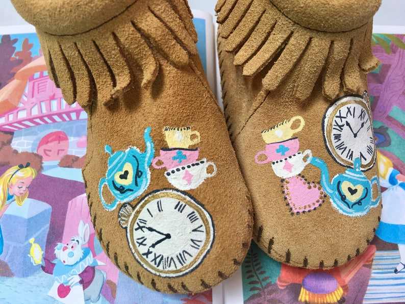 Hand-Painted Tea Party Moccasins image 0