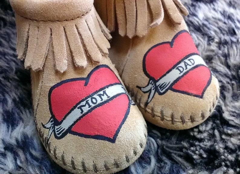 983984873499c Custom Painted Valentine Mom Dad Tattoo Heart Baby Moccasins Booties Free  Range Mama