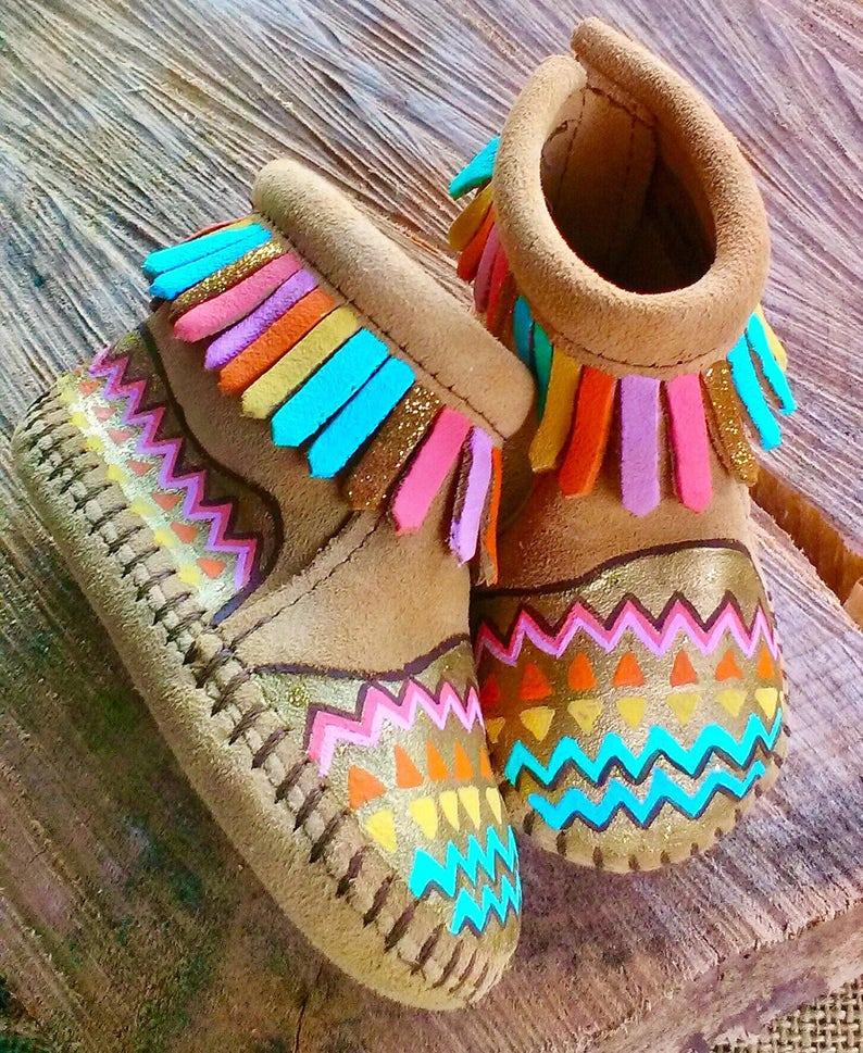 Custom Hand-Painted Pastels Boho Aztec Geo Baby Moccasins image 0