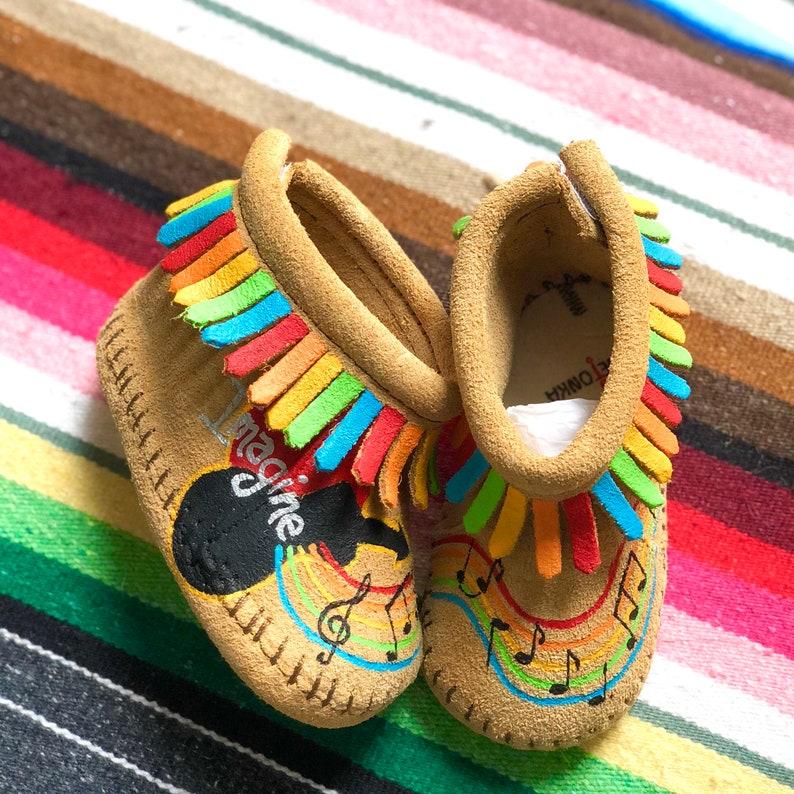 Custom Imagine Rainbow Music Notes Baby Moccasins image 0