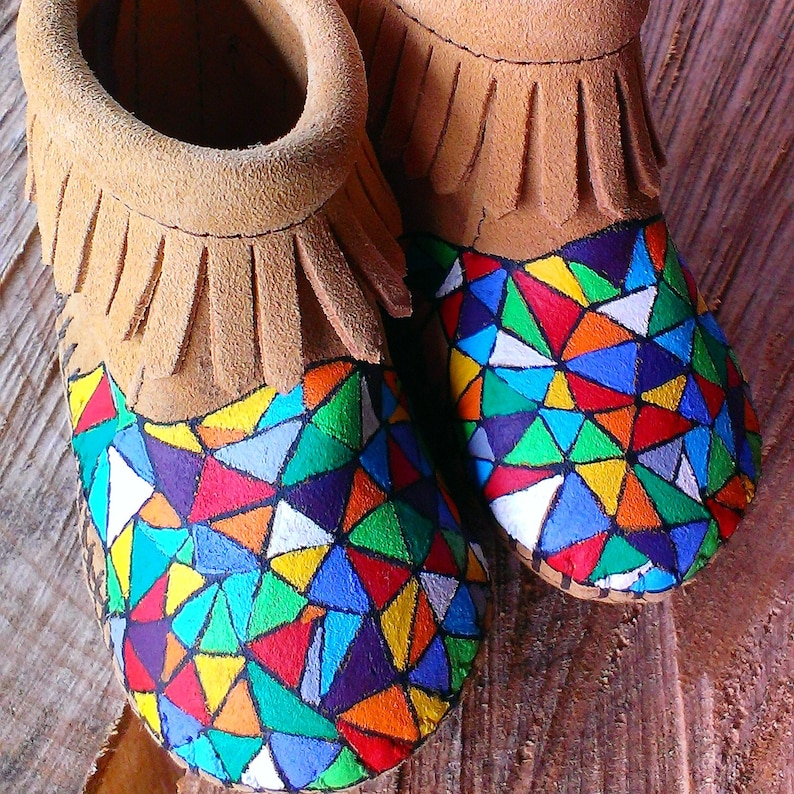 Handpainted Kaleidoscope Eyes Geo Stained Glass Baby Moccasins image 0