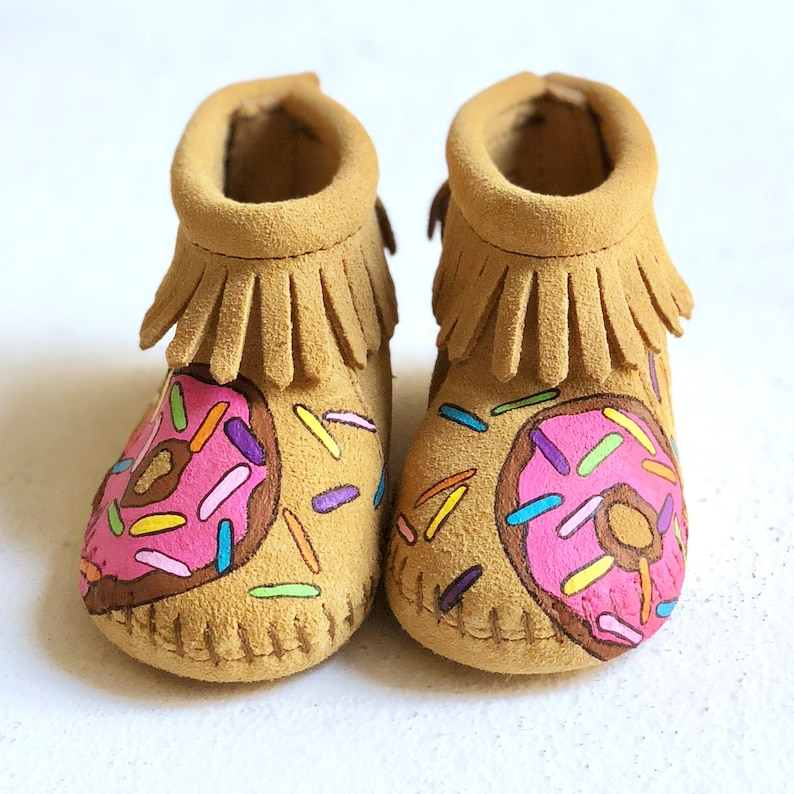 Hand-Painted Donut Worry Be Happy Baby Booties Moccasins Free image 0