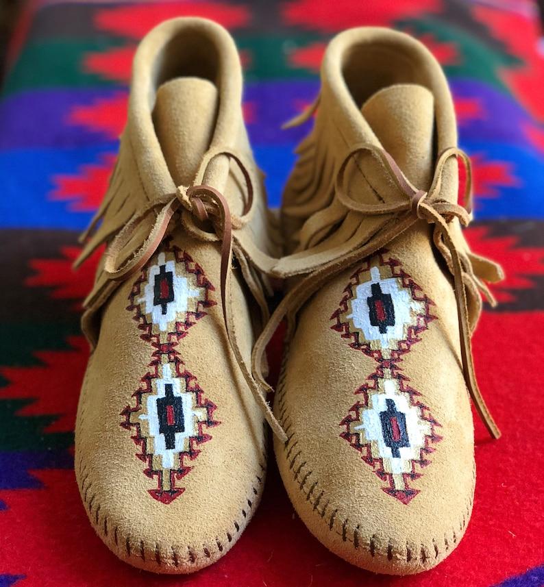 Custom Hand-Painted Wedding Bridal Shoes Native American image 0