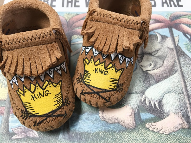 Custom Wild Things Wild One Baby Booties Moccasins image 0