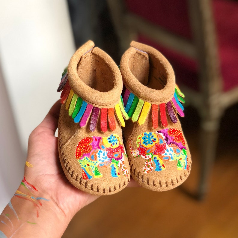 Hand-Painted Elephant Baby Moccasins Booties Indian Ganesha image 0