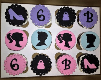 12 BARBIE & KEN fondant cupcake toppers, any color, customized