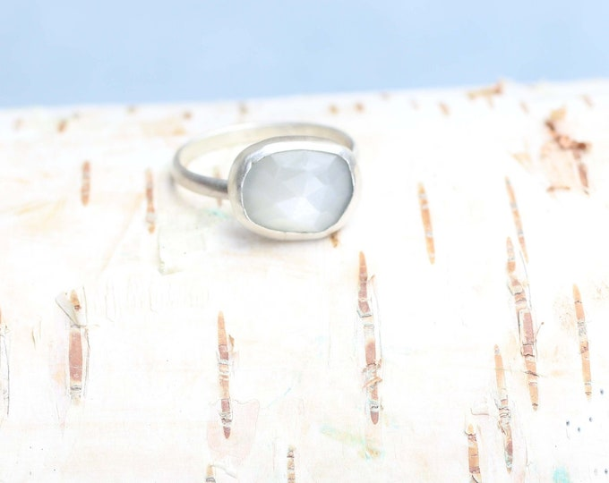 Rose Cut White Moonstone Sterling Silver Ring.