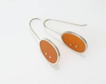orange and silver resin earrings - sterling silver - art jewelry - minimalist - modern - contemporary - handmade