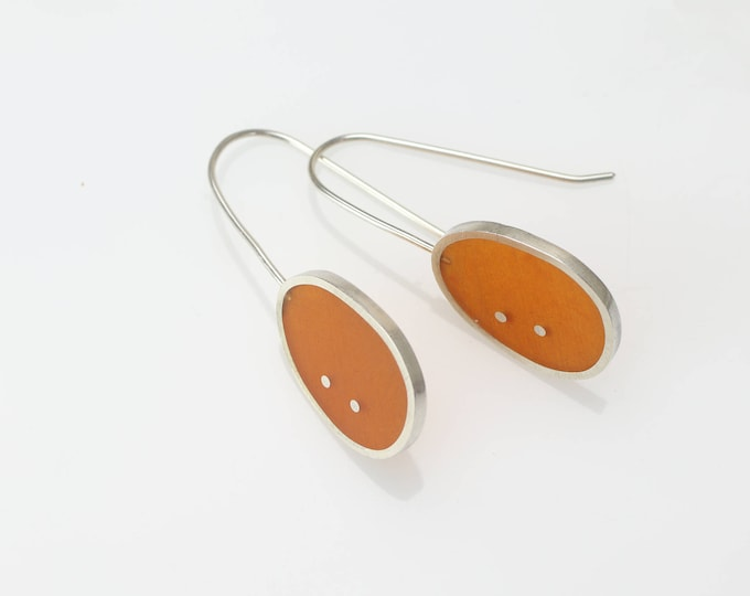 orange and silver resin earrings - sterling silver - art jewelry - minimalist - modern - contemporary - handmade