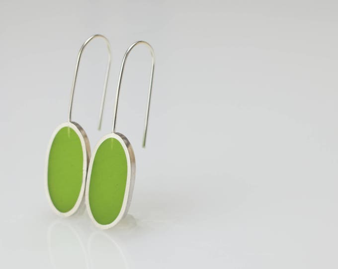 spring green oblong earrings - resin epoxy - sterling silver - art jewelry - minimalist - modern - contemporary - handmade