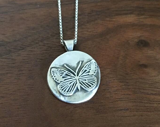Fine Silver Butterfly Pendant / Necklace  - Wild Grace Jewelry