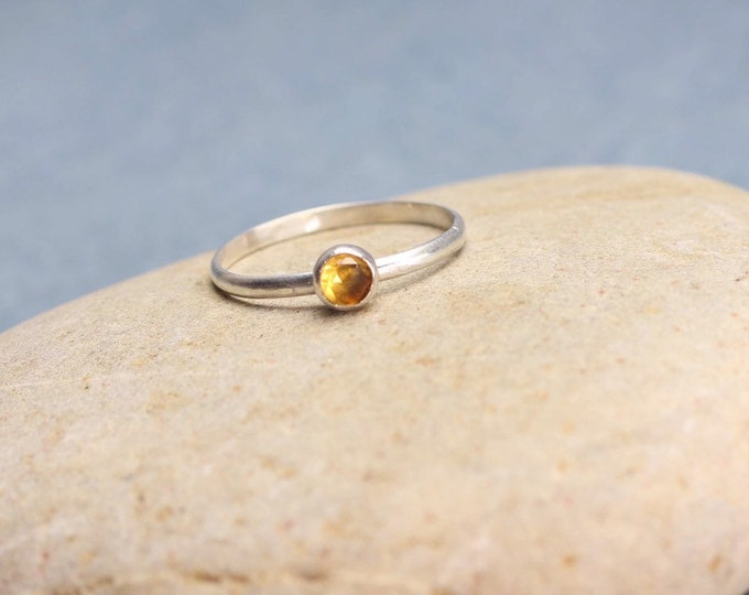 Citrine Stacking Ring Sterling Silver