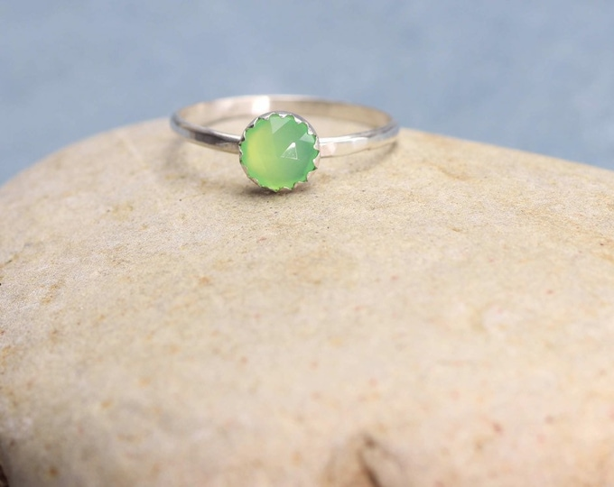 Rose Cut Chrysoprase Stacking Ring Sterling Silver