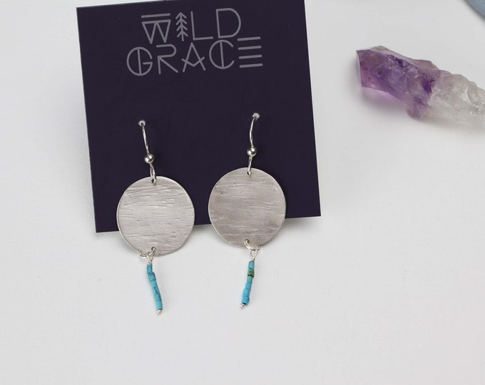 Textured Sterling Silver Disc with Genuine Heishi Turquoise Dangle Earrings