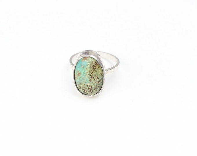 American Turquoise Silver Ring Bezel Set