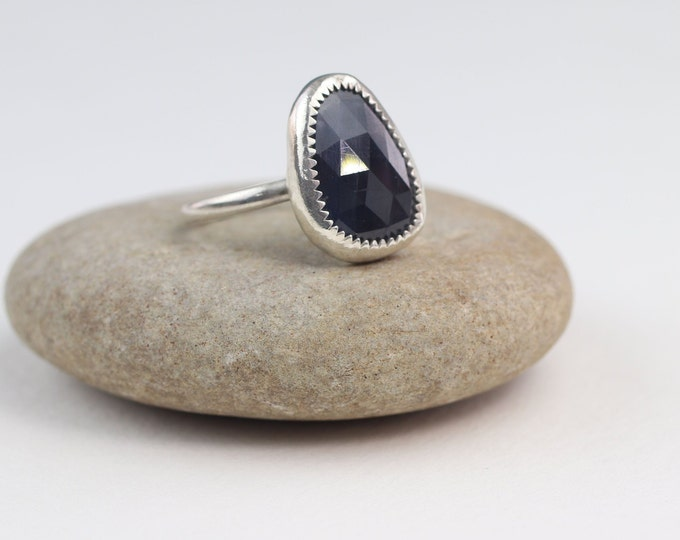 Dark Blue Rose Cut Sapphire Silver Statement Ring