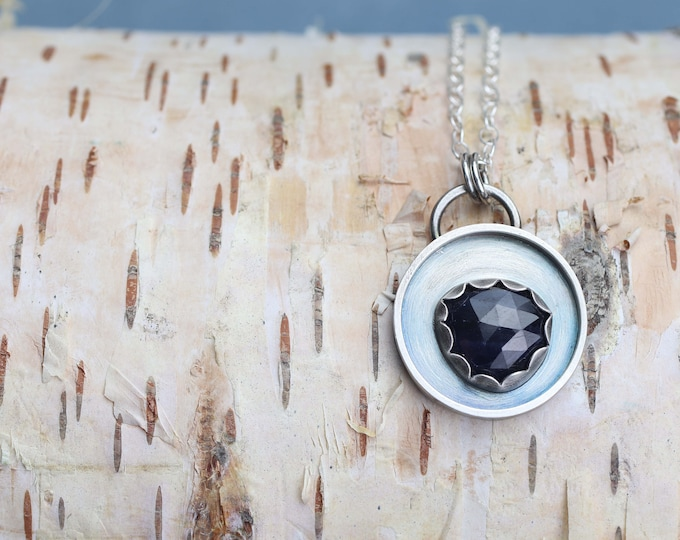 Dark Blue Rose Cut Sapphire Silver Shadowbox Style Pendant & Necklace