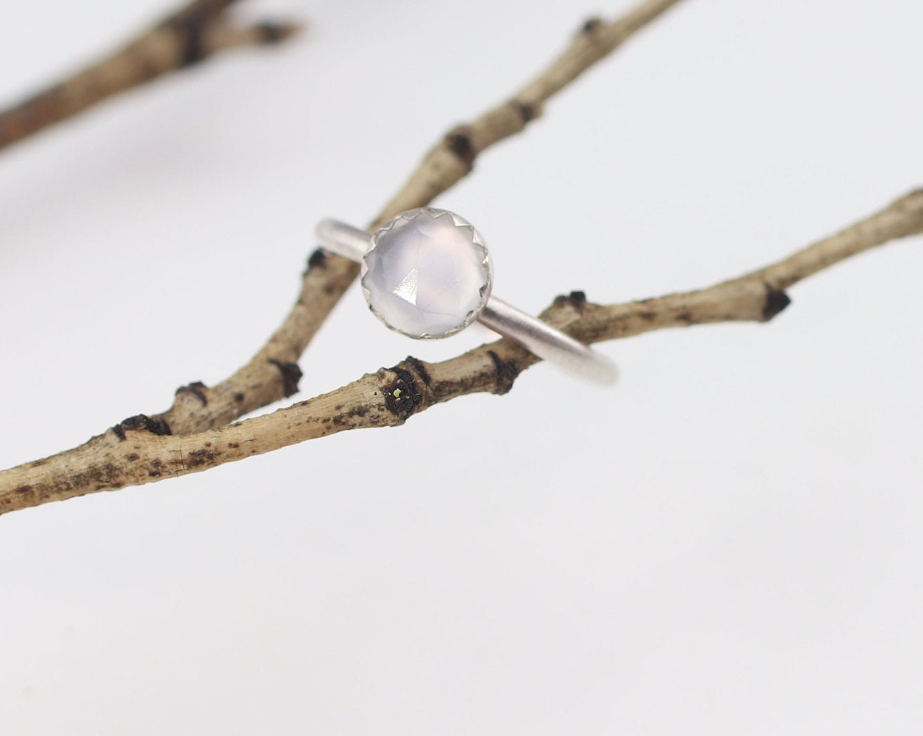 59d5685fde74e9 Rose cut Moonstone Stacking Ring Sterling Silver Size 5 1/4. 1