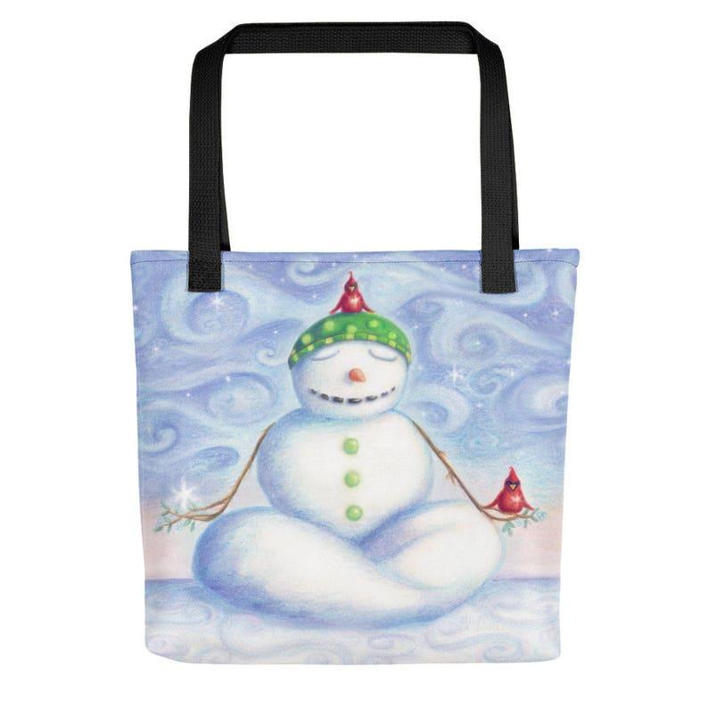 Chill the Yoga Snowman Tote Bag