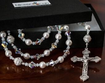 Breathtaking Catholic Rosaries, Swarovski Wedding Rosary, Heirloom Baptism Gifts, Confirmation Gifts, Catholic Gifts, Swarovski Rosary Beads