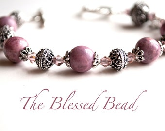 Saint Catherine of Siena Rosary Bracelet, Patron St. of Nurses, Rhodonite Rosaries, Gifts for Nurses, Catholic Jewelry, Confirmation Gifts