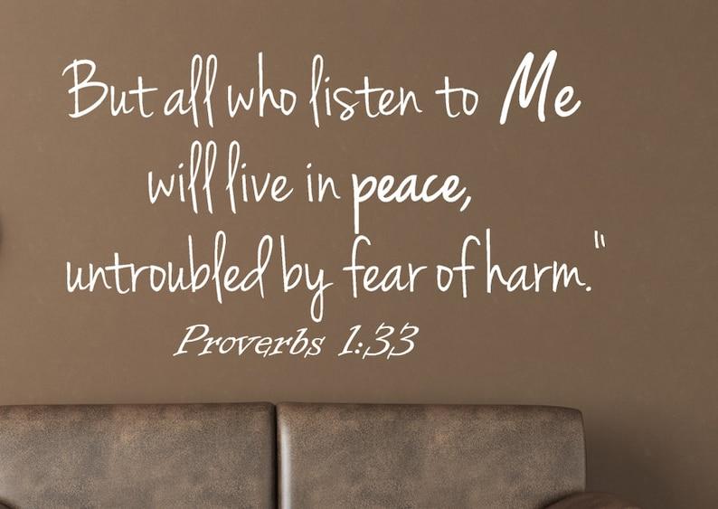 Spreuken Voor Op De Muur.Spreuken 1 33 Muur Sticker Bijbel Vers Muur Sticker Etsy