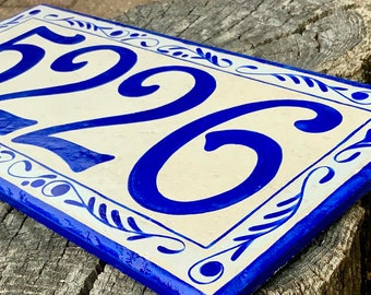 Large House Numbers Custom Hand Painted Address Tiles Horizontal or Vertical, Outdoor Address Sign, Italian Personalized family name sign