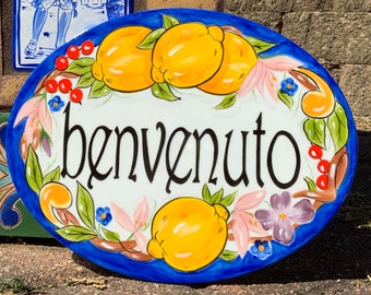 Oval ceramic house numbers, Custom Positano Lemon Italian address plaque Personalized sign, Hand painted front door family name signs