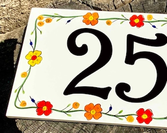 Floral House Number Sign, Large Numbers, Custom Hand Painted Address Tiles Horizontal or Vertical, Address Plaque, Personalized family name