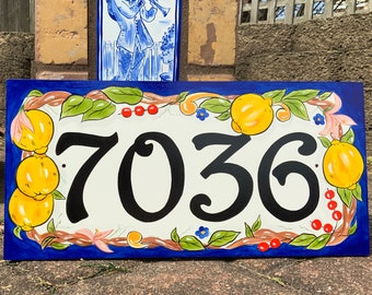 Lemon house numbers Italian ceramic address plaque, Personalized house sign, Hand painted ceramic house number, Front door family name sign