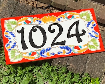 Colorful Ceramic House Numbers hand Painted On Porcelain Plaques,  Italian Address House Number, Outdoor Home Number Plaques, Address Signs