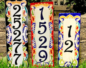 Vertical ceramic house numbers, Numbers and letters house sign Custom personalize sign Hand painted Italian and Spanish numbers Housewarming