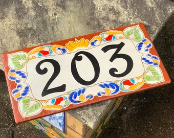 Terra Cotta House Numbers, Spanish colorful house number plaque, Colorful ceramic house number plaque, Address sign for the new home owner