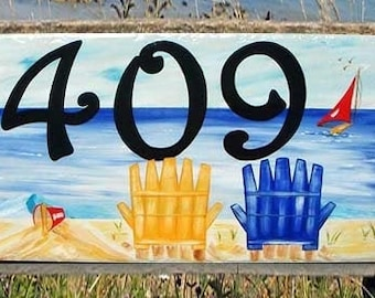Beach house numbers, Tropical, Nautical, Ocean house Number plaque,  Address Sign, Boat number sign, Mailbox, housewarming gift