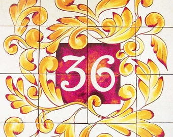 House number mural, Address plaque, Sign, Outdoor mural, Custom mural, House number plaque, Ceramic house numbers, Large sign