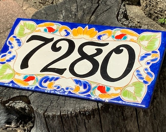 Cobalt Blue Italian House Number plaque, Decorative Hand Painted Colorful Address Sign, Gift For the New Home Owner. House Warming Gift