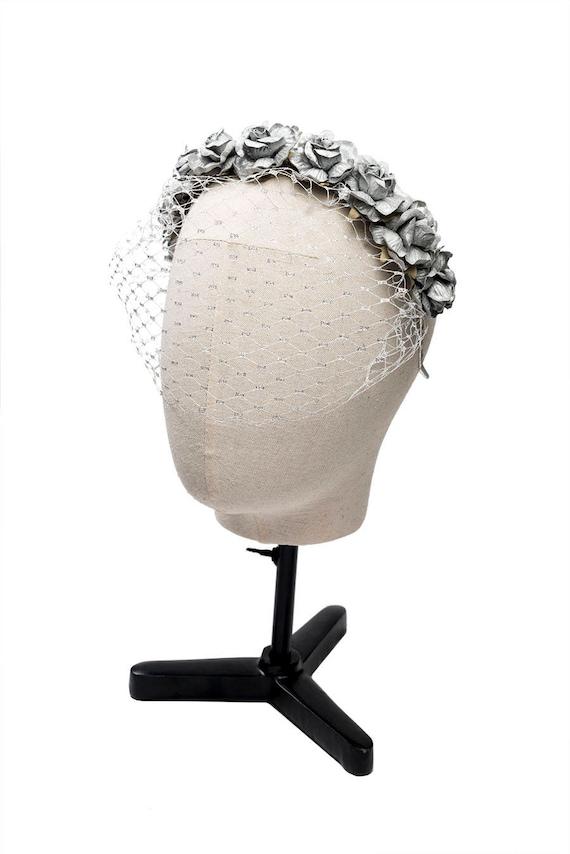 Diadema de flores con velo jaula plateado metalizado corona | Etsy