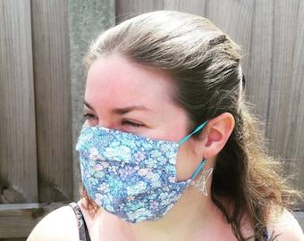 Face Mask 100% Cotton Machine Washable Nose Wire Filter Pocket Child / Adult Size Print / Plain Design