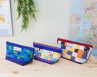 100% Cotton Toiletries Bag / Sewing Bag / Holiday / Weekend / Letterbox Gift / Hug in a Box - PATCHWORK Fish Bikes Musical Notes lining