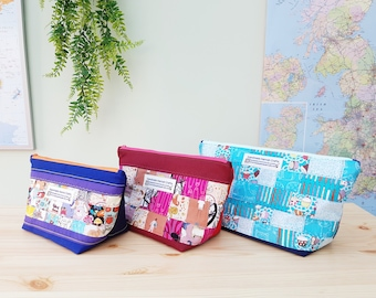 100% Cotton Toiletries Bag / Sewing Bag / Holiday / Weekend / Letterbox Gift / Hug in a Box - PATCHWORK Abstract Patchwork Dotty lining
