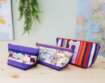 100% Cotton Toiletries Bag / Sewing Bag / Holiday / Weekend / Letterbox Gift / Hug in a Box - PATCHWORK Bird Leaves Fruit lining