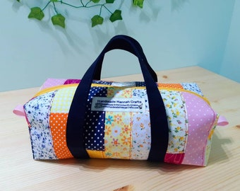 Patchwork Hand Bag / Small Craft Bag / Toiletries / Cosmetic / Make-up Bag
