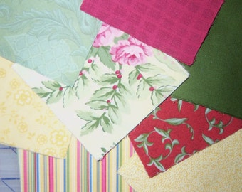 """45 Cheerful Red, Yellow, Green Pack of 4"""" Cotton Squares"""